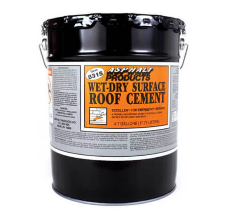 Wet/Dry Fibered Roof Cement Asphalt Products 5 Gallon Bucket